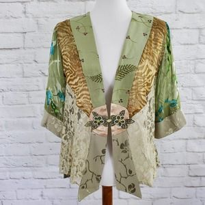 Spencer Alexis Kimono Style Top Silk Lace Boho L